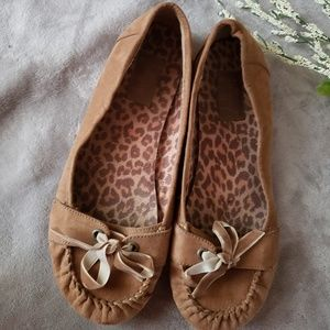 Jelly pop brown suede moccasins. Size 9.5